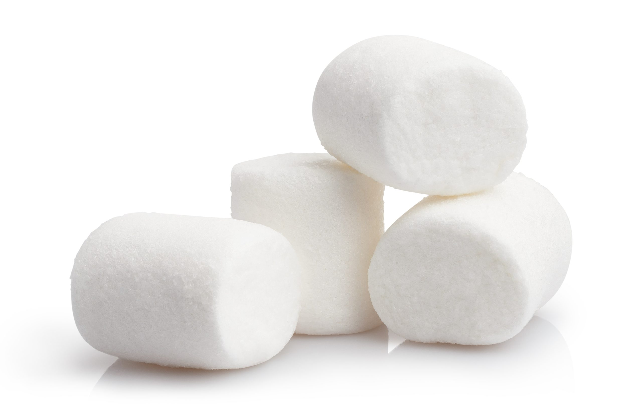 Pile of marshmallows isolated on a white background.