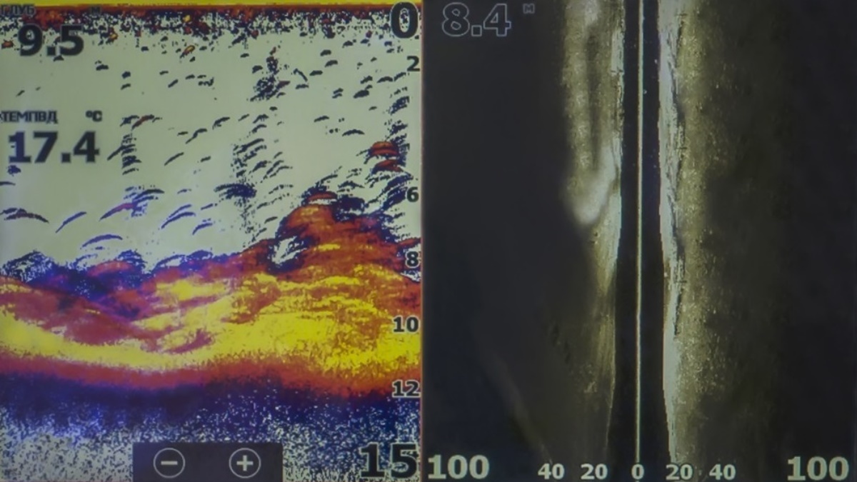 Fish finder sonar screen with fish on a backlit water background.