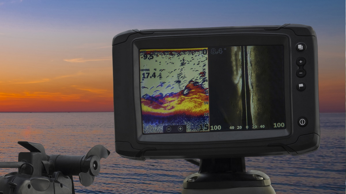 Boat with a fish finder on the water.