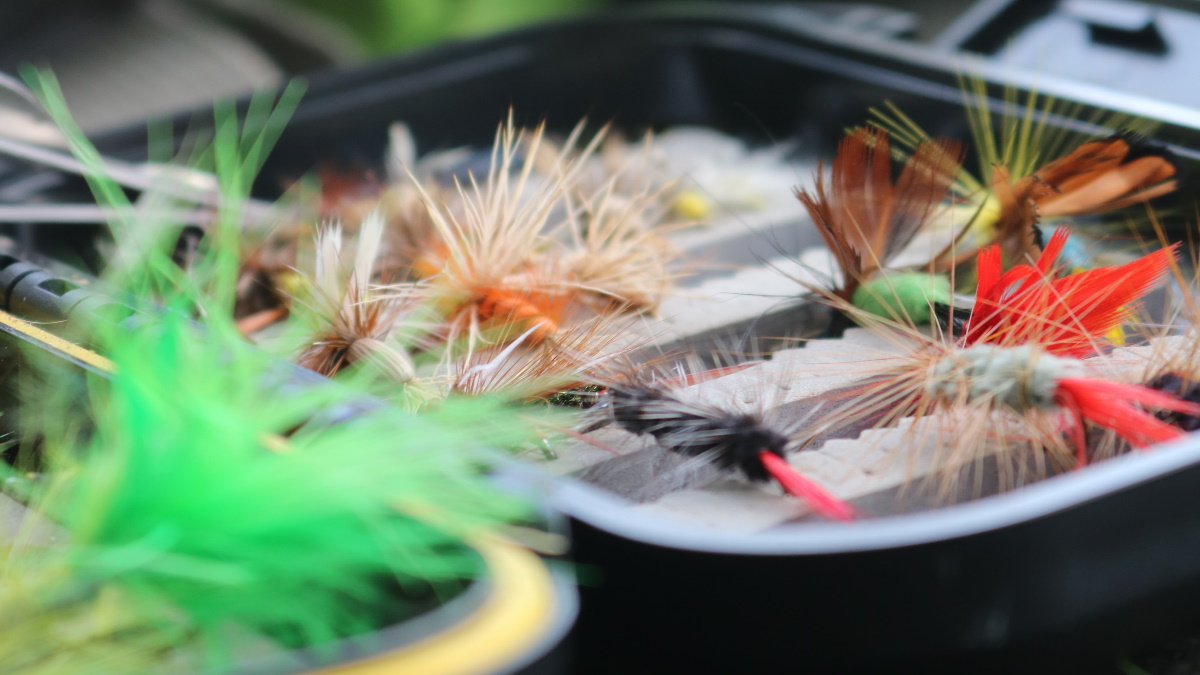 Black and plastic tackle box with fly lures sitting on a wooden table.